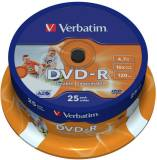 Подробнее о Verbatim DVD-R Disc 16x 4.7Gb Cake Box Wide Inkjet Printable ID Brand 43538