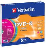 Подробнее о Verbatim Disk DVD-R Colour 4.7Gb 16x 5 Slim 43557