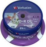 Подробнее о Verbatim Disk DVD+R DL Inkjet Printable 8,5Gb 8x 25 Spindle 43667