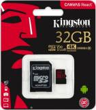 Подробнее о Kingston Canvas React microSDHC 32GB C10 UHS-I U3 R100/W80MB/s + SD SDCR/32GB
