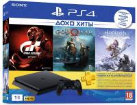 Подробнее о Sony PS4 Slim 1 TB Black  +HZD+GT+GOW4+PSPlus