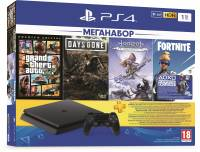 Подробнее о Sony PS4, 1 TB, Black, Slim, +GTA+Days Gone+Horizon Zero Dawn+Fortnite+PSPlus
