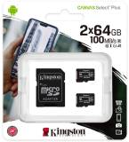Подробнее о Kingston Canvas Select Plus 2-Pack microSDHC 2x64GB + adapter SDCS2/64GB-2P1A