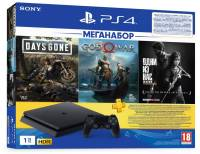 Подробнее о Sony PlayStation 4 Slim 1 TB Black + God of War + Days Gone + The Last of Us + 3M PSPlus