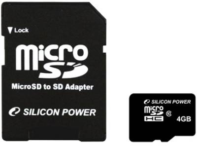 Карта памяти Silicon Power microSDHC 4GB card Class 10 SP004GBSTH010V10-SP