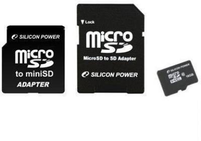 Карта памяти Silicon Power microSD Card 16GB HC Class10+2 adapters SP016GBSTH010V30