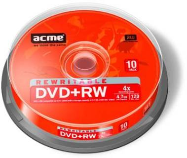 Диск ACME DVD+RW 120min 4.7 Gb 4x Cake Box 10 шт 4770070852972