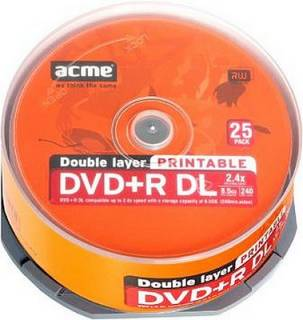 Диск ACME DVD+R 8,5 Gb 2,4X double layer cake 25 шт. Printable 4770070863152