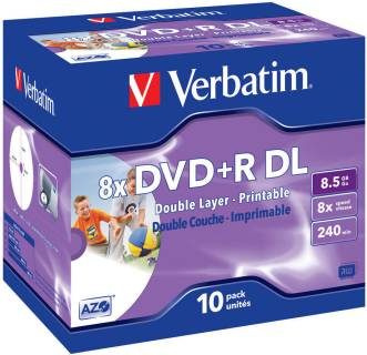Диск Verbatim DVD+R DL Printable 8,5GB 8x 10 Jewel Case 43665