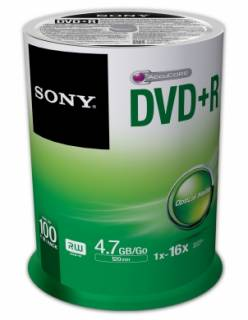 Диск Sony DVD+R 4,7GB/16x CakeBox 100 100DPR47SP