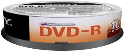 Диск Sony DVD-R 4,7GB/16x CakeBox 10 10DMR47SP