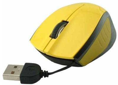 Мышка E-BLUE Extency /build-in retractable wired / yellow EMS104YE