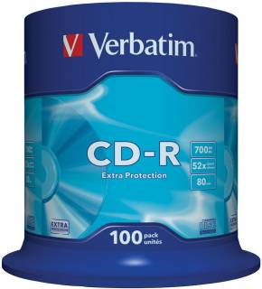Диск Verbatim CD-R 700Mb 52х, Extra Protection Cake 100 43411