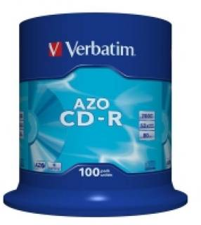 Диск Verbatim CD-R Disc 52x 700MB Cake box AZO Crystal 43430