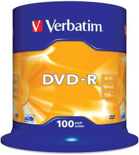 Диск Verbatim DVD-R 16x 4.7G, CakeBox 100 43549