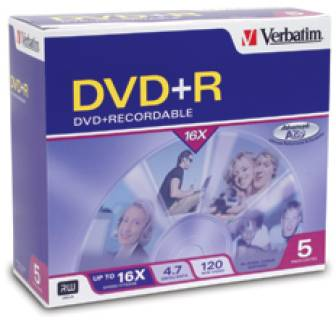 Диск Verbatim DVD+R Disc 4.7Gb 16x Slim case Color 43556