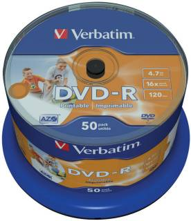 Диск Verbatim DVD-R Disc 16x 4.7Gb Cake box 43649