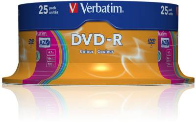 Диск Verbatim DVD-R Disc 16x 4.7Gb Cake Box AZO Color 43732