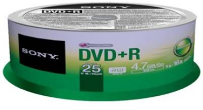 Диск Sony DVD+R 4,7GB/16x CakeBox 25 25DPR47SP