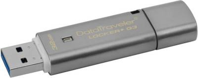 Флеш-память USB Kingston DataTraveler Locker+ G3 32GB Metal Silver USB 3.0 DTLPG3/32GB