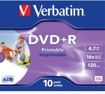 Диск Verbatim DVD+R Disc 4,7Gb, 16x, Jewel case (43508)