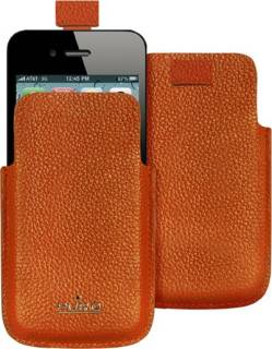 Puro iPhone 4 leather оранж IPC4PELLEORA