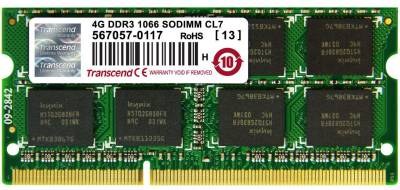 Оперативная память Transcend So-Dimm DDR3 4Gb 1066MHz CL7 TS4GAP1066S