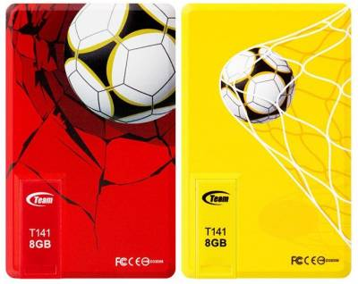Флеш-память USB Team 8Gb x 2 T141 Football Cards Red And Yellow TT1418GZ13