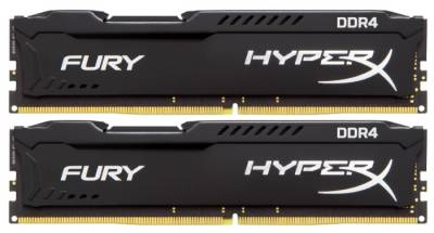 Оперативная память Kingston HyperX Fury Black DDR4 8Gb (2x4Gb) 2400MHz CL15 Kit HX424C15FBK2/8