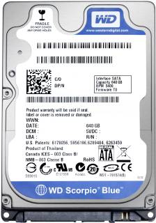 Внутренний HDD/SSD Western Digital Scorpio Blue 640GB 5400RPM 8MB WD6400BPVT
