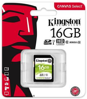 Карта памяти Kingston Canvas Select SDHC 16GB C10 UHS-I R80MB/s SDS/16GB